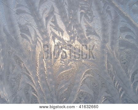 Ice Natural Pattern On Glass