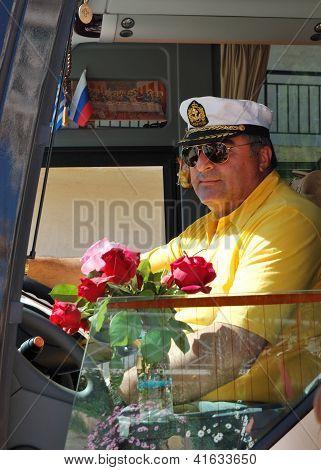 Halkidiki, Greece - April 27: The Greek Driver Of Modern Bus For Tourists Transportation On April 27