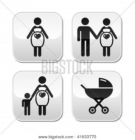 Conjunto de botones de mujer embarazada