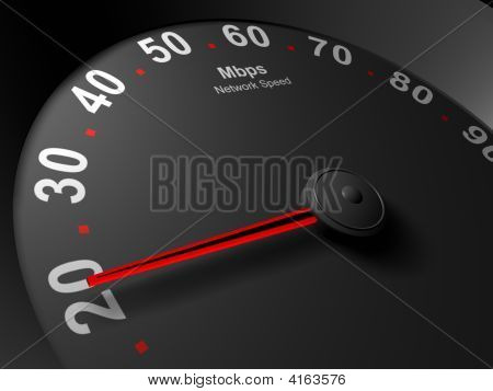 Network Speedometer Abstract Image Of Mbps