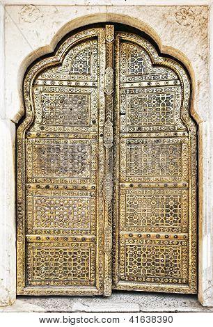 Old Golden Doors Of The Hawa Mahal.