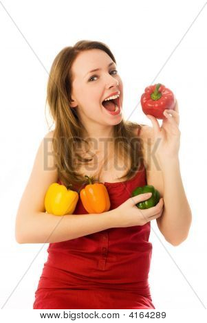 Beautiful Woman Eating Peppers