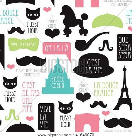 Seamless paris moustache mustache poodle pattern french background in vector