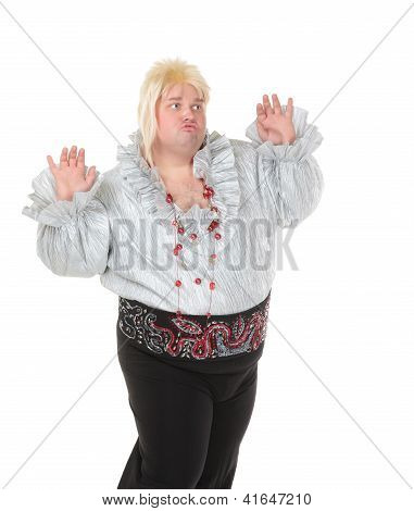 Crazy Funny Fat Man Posing Wearing A Blonde Wig