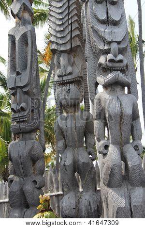 Tiki Statues on Hawaii Big Island