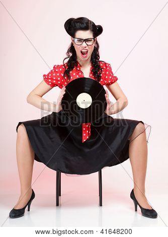 phonography analogue record Girl pin-up retro