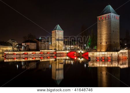 "Ponts Couverts In ""petite France"". Touristic Area In Strasbourg - Alsace, France"