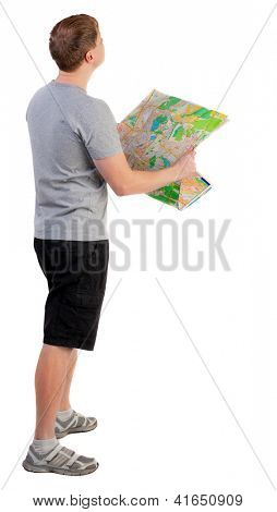 Back view of  journey  young man looking at the map. travelers man in shorts consider recreation. Rear view people collection.  backside view of person.  Isolated over white background.
