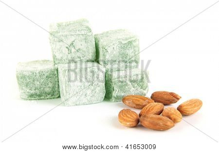 rahat lokum and nuts isolated on white