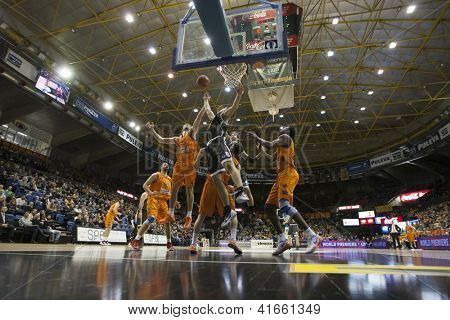 VALENCIA - JANUARY 29: various players during Bakestball match between Valencia Basket Club and Uxue Bilbao, on January 29, 2013, in La Fonteta Stadium, Valencia, Spain