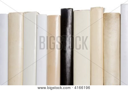 Row Of White Books With One Black Book