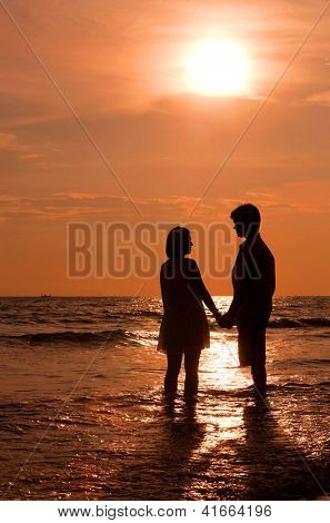 romantic and happiness scene of couples on the Beach