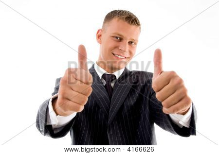 Smiling Handsome Lawyer Showing Thumb Up With Both Hands