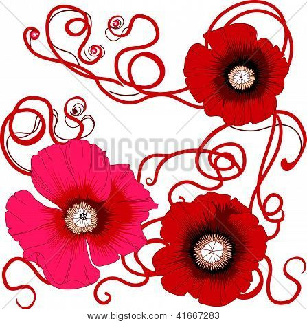 Poppy flower pattern seamless