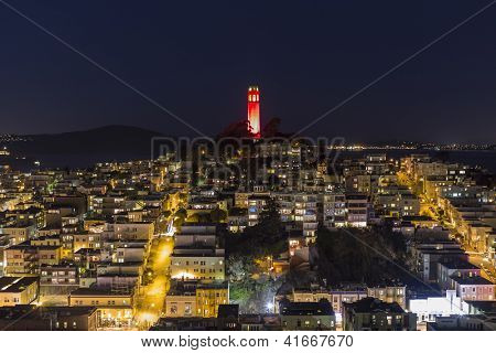 SAN FRANCISCO, CALIFORNIA - JAN 13:  Coit tower at night. San Francisco's board of Supervisors approved $1.7 million for structural repairs at historic Coit Tower on Jan 13, 2013 in San Francisco, CA.