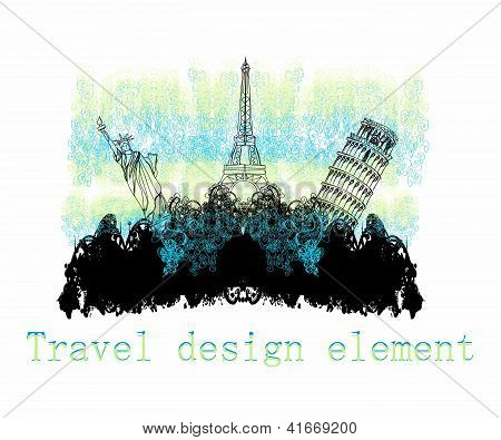 Travel Design Element With Different Monuments