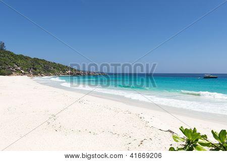 tropical beach of the island La Digue