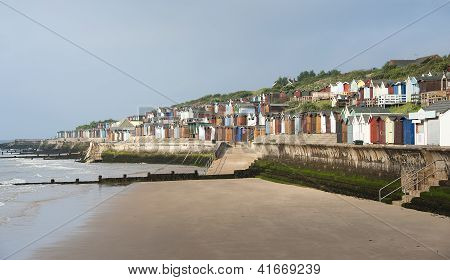 The Beach and Huts at Walton on the Naze, Essex, UK.