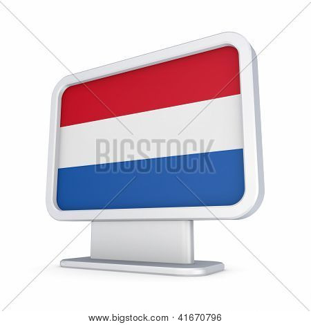 Dutch flag in a lightbox.