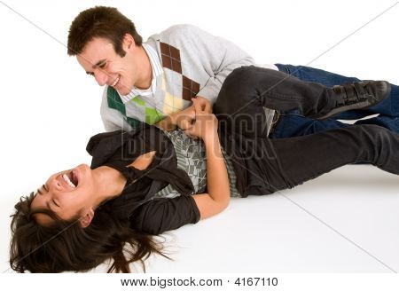 Girl Being Tickled By Man