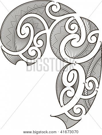 Maori style tattoo design fit for a man's body (shoulder and chest). Raster image.