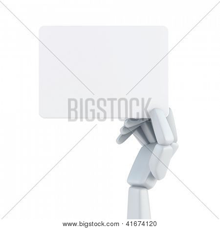robot's hand hold blank business card