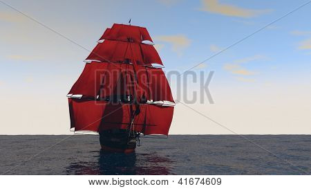 ship with red sales in the ocean