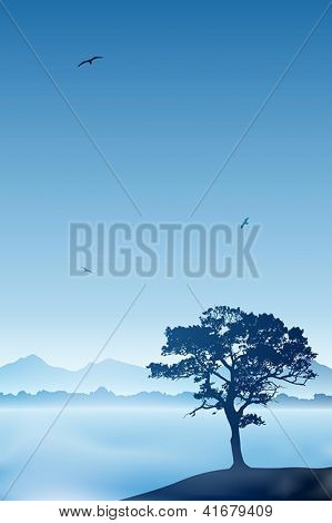 A Tree with Misty Lake and Blue Sky