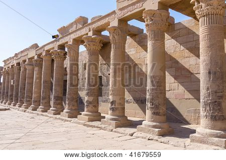 Colonnade at the Philae Temple of Isis, Egypt