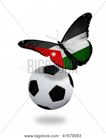 Concept - Butterfly With  Jordanian Flag Flying Near The Ball, Like Football Team Playing