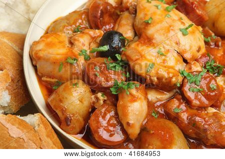 Spanish chicken stew with chorizo sausage,olives and new potatoes.