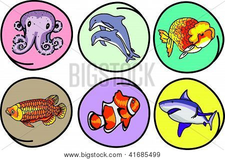A Set Of Aquatic Animal On Round Background