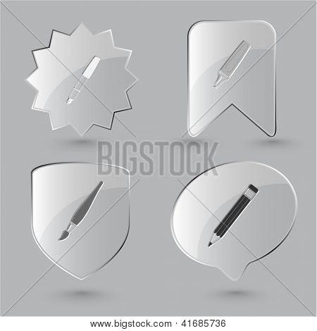 Education icon set. Felt pen, brush, pencil, ink pen. Glass buttons.