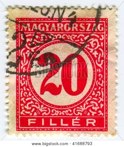 HUNGARY - CIRCA 1931: A stamp printed in Hungary showing number 20  in circles, circa 1931.