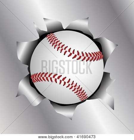 Baseball Thru Metal Sheet