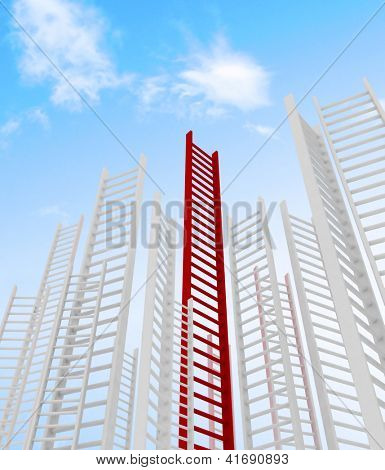 ladders leading to a clouds - rendered in 3d