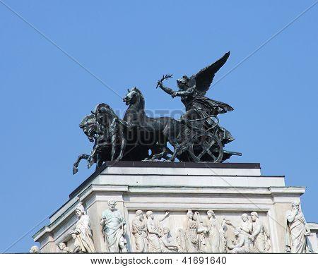 Bronze quadriga statue at the Parliament building in Vienna, Austria