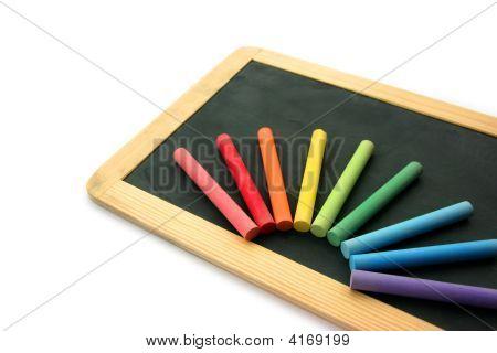 Blackboard And Chalks In Rainbow