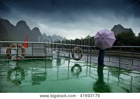 Boat Deck, Umbrella And Li River.