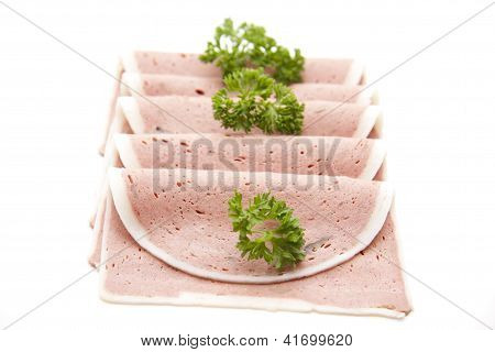 Liver Sausage for eating on White background
