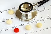 foto of ekg  - A stethoscope on the top of the EKG chart with pills concept of modern medicine - JPG