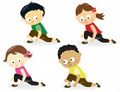 foto of bow-legged  - Illustration of cute kids doing leg stretches - JPG