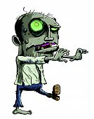 pic of undead  - Cartoon illustration of a ghoulish undead green zombie in tattered clothing with a skull - JPG