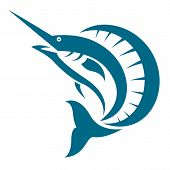 pic of spearfishing  - Vector image of an sailfish on white background - JPG