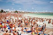 COSTINESTI, ROMANIA- AUGUST 6:Crowded on northern part of Costinesti beach on August 6, 2012 in Roma