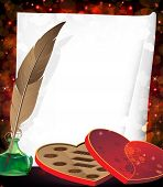 picture of inkpot  - Box of chocolates inkpot with feather and sheet of paper on a red background with transparent hearts - JPG
