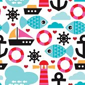 Seamless nautical ocean sea life kids background pattern in vector