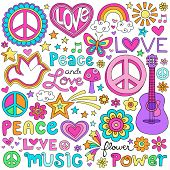stock photo of psychedelic  - Peace Love and a Dove Flower Power Groovy Psychedelic Notebook Doodles Set with Butterfly - JPG