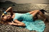 foto of diva  - Portrait Of Fashion Woman In Blue Dress Outdoor - JPG