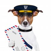 foto of jack-in-the-box  - postman mail dog with a air mail letter - JPG
